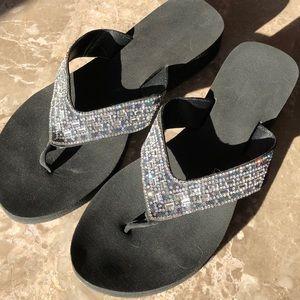 Shoes - NWOT.  Black flip flops with silver jewels - Sz 8